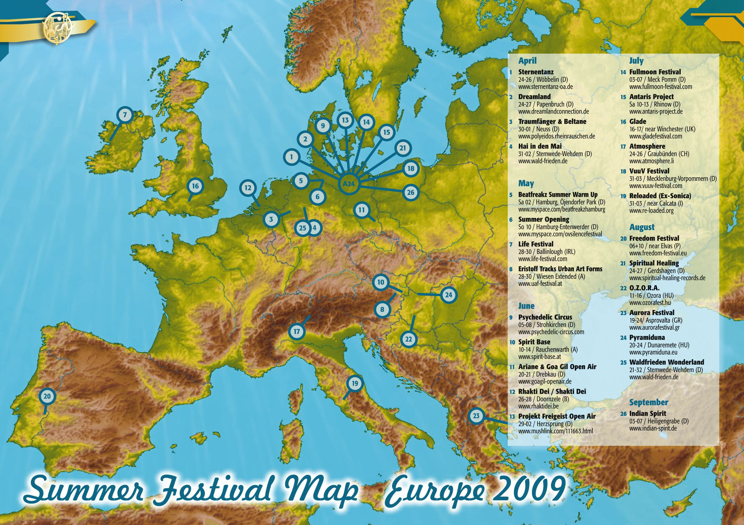 Map Of Uk Festivals.Summer Preview And European Summer Festival Map 2009